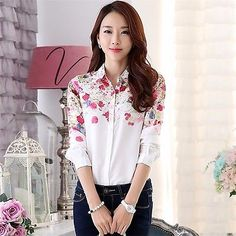 Women's Casual Shirt Floral Stylish Chiffon Long Sleeve Printed Lapel Blouses