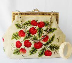 VIntage cherry needlepoint purse
