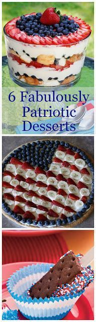 A collection of 6 fun and festive patriotic desserts for your summer get togethers, picnics and parties.