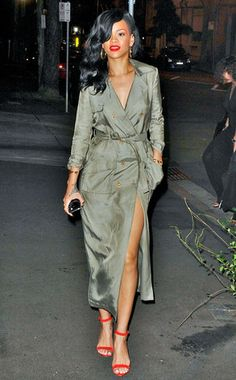 Well, of course Rihanna wears ONLY a trench coat to dinner but it totally works for her if you ask us!
