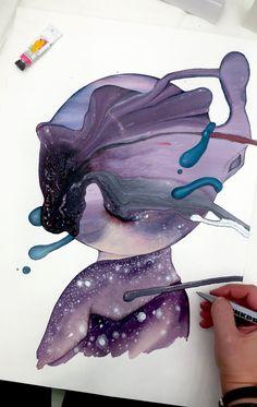 Håndmalede akvareller af Joanna Jensen. Aalborg, Amethyst, Texture, Rock, Crystals, Illustration, Anime, Crafts, Collection