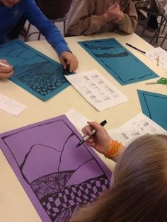 Zentangle landscapes, lovely on colored paper ~ A zentangle landscape would B a great project for school age kids from Grade 5 up.: