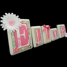 Child Baby name letters, hanging wall letters, kid wall decor, nursery decor, baby name sign, name blocks, custom gift, pink on Etsy, $10.00