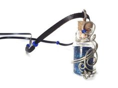 Cobalt blue fairy dust pendant necklace by PinkCupcakeJC on Etsy, $16.00