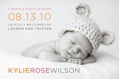 custom baby boy or girl photo birth announcement - pastel chic II. $16.00, via Etsy.