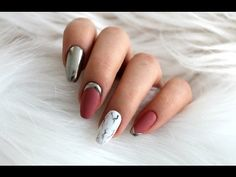 Marble nails + mirror efect - YouTube