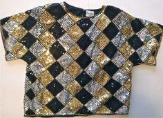 Vintage Womens Sequin Top Size Medium 100% Silk Diamond Design Black Gold
