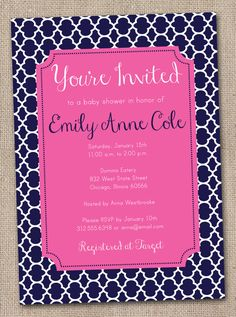 Baby Girl Shower Invitation in Preppy Navy Blue and Hot Pink