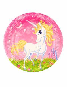 8 Platos de cartón unicornio girly 23 cm: Estos platos de cartón se venden en lotes de 6 unidades.Miden alrededor de 23 cm de diámetro y tienen un unicornio sobre fondo rosa y verde.Estos platos de fantasía son ideales...