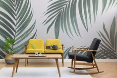 Create a cool minimalist style that's bang on trend with this fresh tropical palm leaves wallpaper, a contemporary mural. Tropical Wall Decals, Palm Leaf Wallpaper, Tree Wall Murals, Living Room Murals, Painted Leaves, Fireplace Wall, Plant Wall, Dining Area, Dining Room