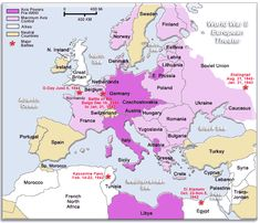 This map shows the World War II European Theater. It clearly shows where the Battle of Stalingrad , D-Day , and the Battle of the Bulge took place. The Axis Powers had a lot of power within the European theater. Invasion Of Poland, Battle Of Normandy, Normandy Invasion, Battle Of Stalingrad, History Projects, African Countries, Axis Powers, World War Two, Europe
