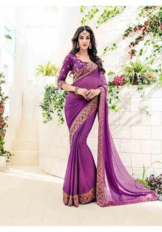 Designer Purple Chiffon Saree With Jacqard Border