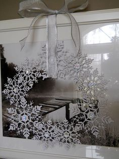 Christmas Crafts---Snowflake wreath - glue together 9 Target snowflake ornaments & glue a sparkle gem to center of each snowflake. Decoration Christmas, Noel Christmas, Xmas Decorations, Winter Christmas, Christmas Wreaths, Christmas Ornaments, Cheap Ornaments, Frame Decoration, Christmas Snowflakes