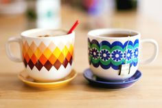 Cute teacups, available at Common Kitchen. Love the tiny saucers.