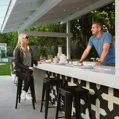 HGTV's Christina Anstead Reveals Photos of Her California Backyard Covered Outdoor Kitchens, Iridescent Tile, Newport House, California Backyard, Indoor Outdoor Living, Outdoor Spaces, Outdoor Retreat, Outdoor Ideas, Outdoor Decor