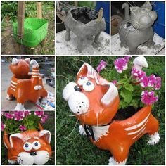 DIY Adorable Cat Flower Pot from Plastic Bottle and Cement