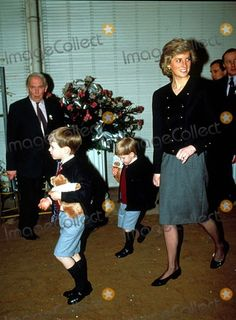 Princess Diana with Prince Henry and Prince William at a Charity Concert in Aid of the Armenian Disaster 12-17-1988 Photo by Uppa-ipol-Globe Photos, Inc.