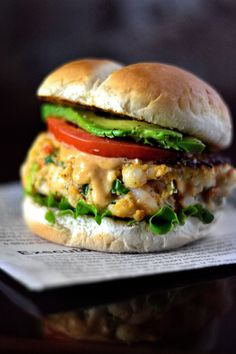 Creole Shrimp Burger Recipe - Coop Can Cook Shrimp Recipes, Fish Recipes, Broccoli Recipes, Pasta Recipes, Antipasto, Shrimp Burger, Crab Burger, Shrimp Sandwich, Salmon Burger Sauce