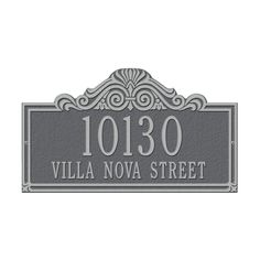 Whitehall Products Villa Nova Rectangular Pewter/Silver Standard Wall Two Line Address Plaque-1014PS - The Home Depot