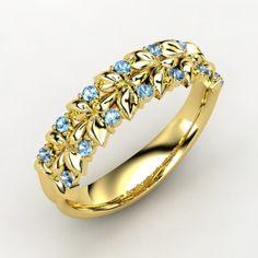 14K Yellow Gold Ring with Blue Topaz | Laurel Ring | Gemvara