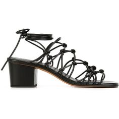 Chloé 'Jamie' strappy sandals (€310) ❤ liked on Polyvore featuring shoes, sandals, black, strappy leather sandals, chloe sandals, leather strap sandals, leather sandals and black strappy sandals