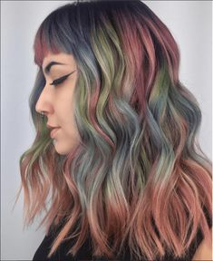 Hair Chalk Dull rainbow colors unicorn hairstyle for shoulder Hair Chalk Dull rainbow colors unicorn Medium Hair Cuts, Short Hair Cuts, Short Hair Styles, Lisa Frank, Older Women Hairstyles, Cool Hairstyles, Latest Hairstyles, Hairstyles Haircuts, Pulp Riot Hair Color