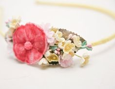 Yellow and Pink Vintage flower headband, headbands for women, wedding hair. $32.00, via Etsy.
