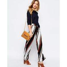 First & I Stripe Palazzo Pant (465.110 IDR) ❤ liked on Polyvore featuring pants, stripe, woven pants, tall pants, white striped pants, striped pants and palazzo trousers