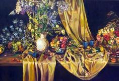 Rosemary Valadon 'Summer Still Life' (triptych) oil on canvas 152 x 91cm (each panel)