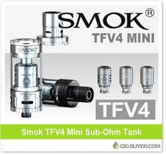 Smok TFV4 Mini Sub-Ohm Tank – $29.90: http://www.cigbuyer.com/smok-tfv4-mini-tank-deal/ #ecigs #subohm #vaping #smoktfv4 #tfv4mini #vapelife #vapedeals