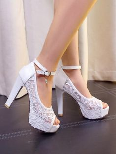 Cheap block heel, Buy Quality lace sandals directly from China sandal shoes Suppliers: Plus size summer lace sandal pumps shoes for woman white black beige lace wedding shoes peep toes super high block heels Peep Toe Wedding Shoes, Wedding Heels, Prom Shoes, Lace Wedding, Beige Wedding, Women's Shoes, Open Toe High Heels, Chunky High Heels, Platform Sandals Chunky