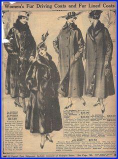 1916 womens fur driving coats, Sears