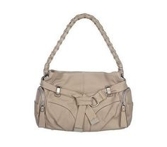 B. Makowsky Leather Hobo Bag with Belt and Braided Strap - QVC.com