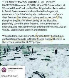 Um, this wasn't about confiscating guns from armed Americans. It was about disarming members of a disliked ethnic group so they could be slaughtered with less hassle.<<< both, i think Us History, History Facts, American History, Black History, Truth Hurts, It Hurts, Hard Truth, Indian Reservation, Pine Ridge