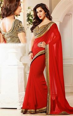 Lovely Red Color Indian Wedding Sarees