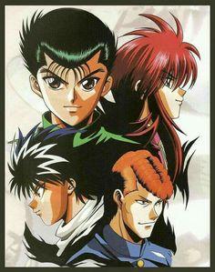 Kurama Hiei Yusuke and kuwabara Anime Echii, Film Anime, Anime Comics, Anime Art, Yu Yu Hakusho Anime, Yoshihiro Togashi, Animation, Stuff And Thangs, Ghost Rider