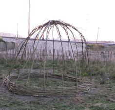 A hut made of willow osiers (under construction) Under Construction, Playground, Garden Tools, Recycling, Fair Grounds, Water, Green, Children Playground, Gripe Water