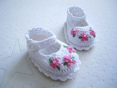 Pink Flower Cotton Baby Booties
