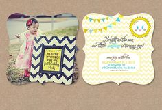 Chevron Turquoise Party Theme (You Are My Sunshine) Invites