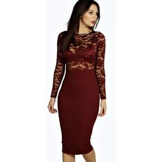 Boohoo Night Tamsin Lace Top Long Sleeve Midi Dress ($35) ❤ liked on Polyvore featuring dresses, berry, long sleeve midi dress, long sleeve lace dress, red cocktail dress, lace bodycon dress and long sleeve sequin dress