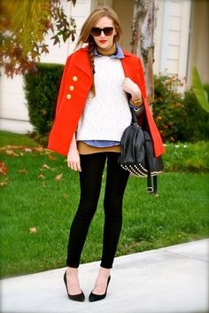 Layered look-red peacoat for winter - so cute!