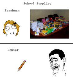 School Supplies - Freshman Year Vs. Senior Year.