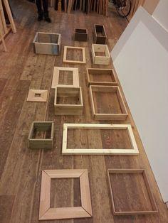 schilderijlijsten kastjes van verschillende materialen , diktes , lengtematen, steigerhout, vuren, mahonie, wenge multiplex
