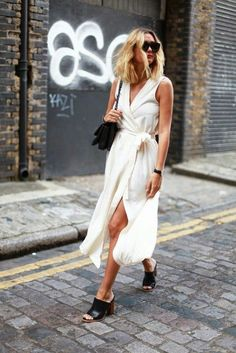 $80 Minimalist Simple Cream White Sleeveless Collared Shirt Wrap Around Tie Waist Belted Midi Dress Black Leather Slip On Heeled Mules Shoes Summer Street Style Tumblr