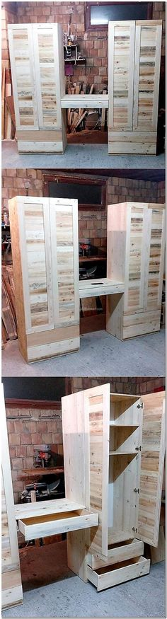 It is a great idea for the bedroom for 2 because it allows placing the items separately; this pallet dresser with desk idea is unique because it eliminates the requirement of placing a table for makeup or other items of daily use.