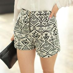Zipper Ethnic Style Totem Pattern Shorts for under $10