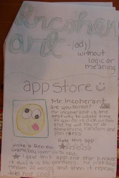 """My 8th graders invented six new activities for """"publishing"""" new vocab words. The 7th graders like them very much. I chose this  week's """"Vocab Collector"""" awards based on my """"sev-vies"""" who did well with all eight of their words and ALSO tried at least one of the newer activities. 7th grader--Lexxie--for example created an imaginary App based on the word """"incoherent.""""  Here is a link to the original pin where I shared this new vocab idea: http://www.pinterest.com/pin/450852612669006044/"""