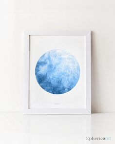 Blue moon wall decor, Full moon print, Astronomy gift, Blue nursery art Digital watercolor Moon artwork, Blue watercolor print, La luna Moon