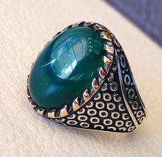green onyx agate aqeeq sterling silver 925 by AbuMariamJewels