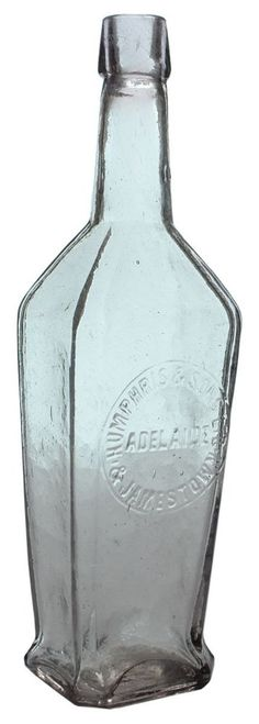 Humphris & Sons, Adelaide & Jamestown. Fancy shaped Light Amethyst Cordial Bottle. Large 26 oz size. c1910s